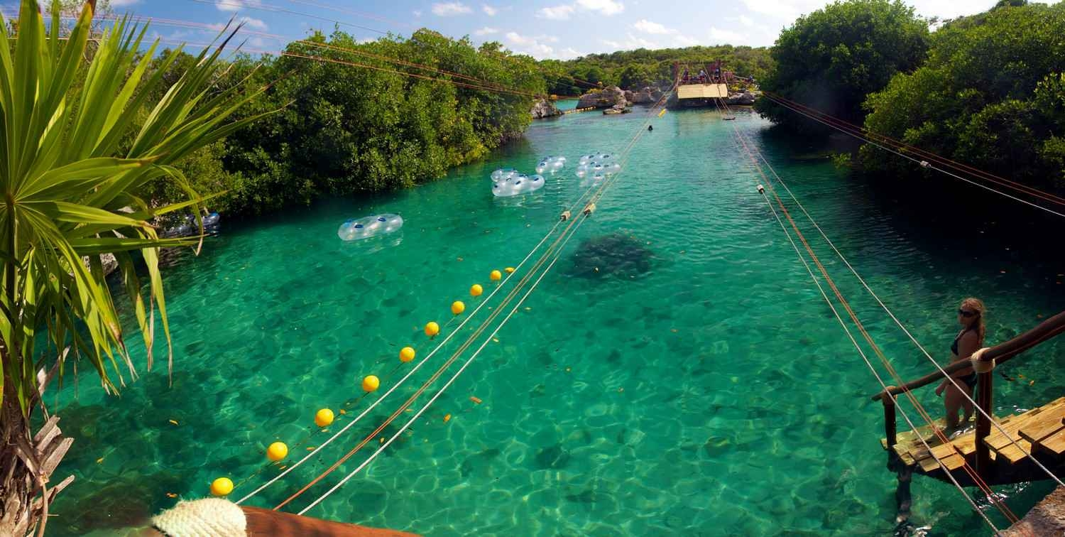 A zip line at the Xel-Ha themepark.