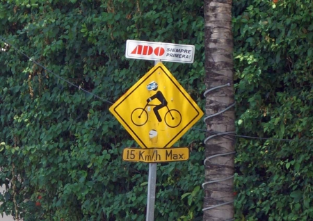 A bicycle crossing sign seen near Playa Del Carmen.