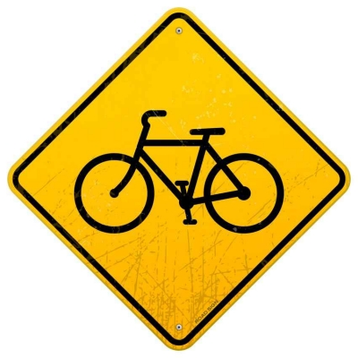 A bike path ahead sign.