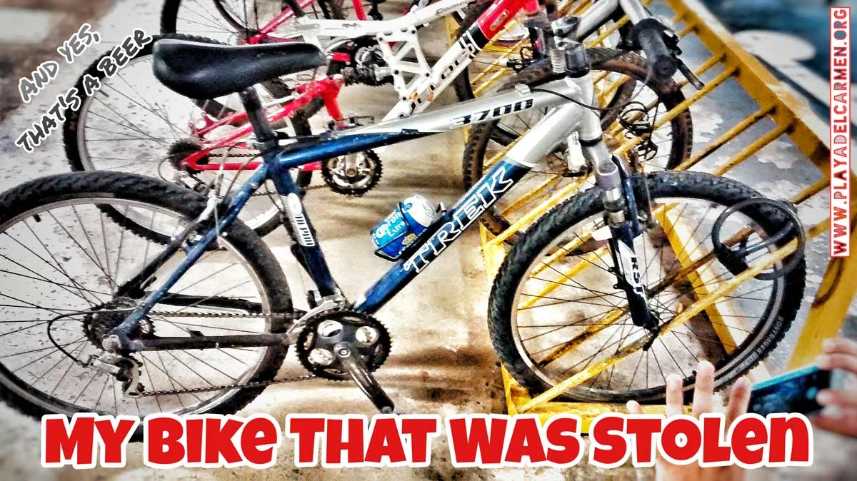 This is a picture of my TREK bike that was stolen from me. Yes, that's a beer!!!