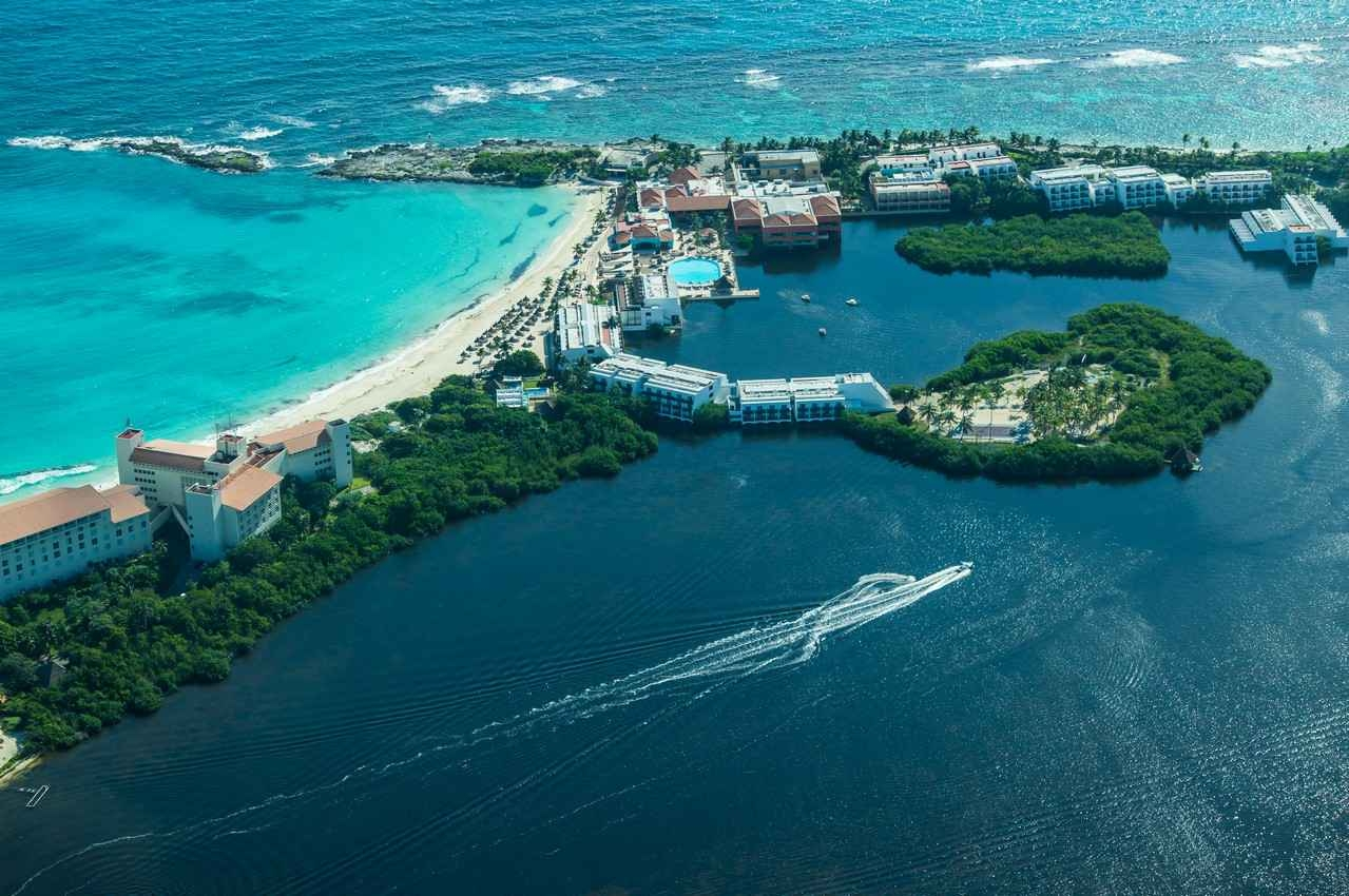 An aerial view of the Cancun beach and part of the hotel zone.