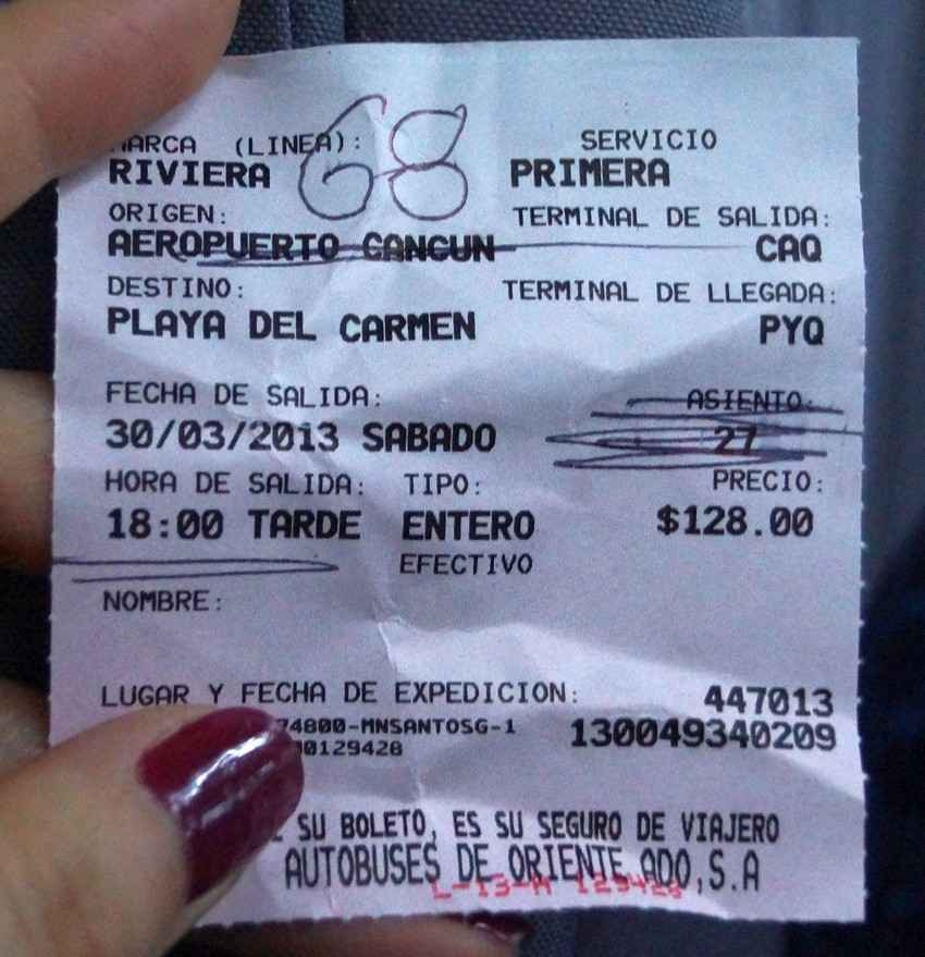 A bus transfer ticket going from Cancun to Playa Del Carmen costs 128 Mexican pesos.