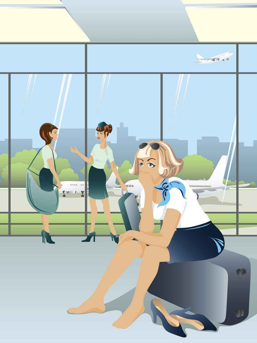 A graphic showing a stewardess sitting at an airport on her luggage without shoes on her feet.