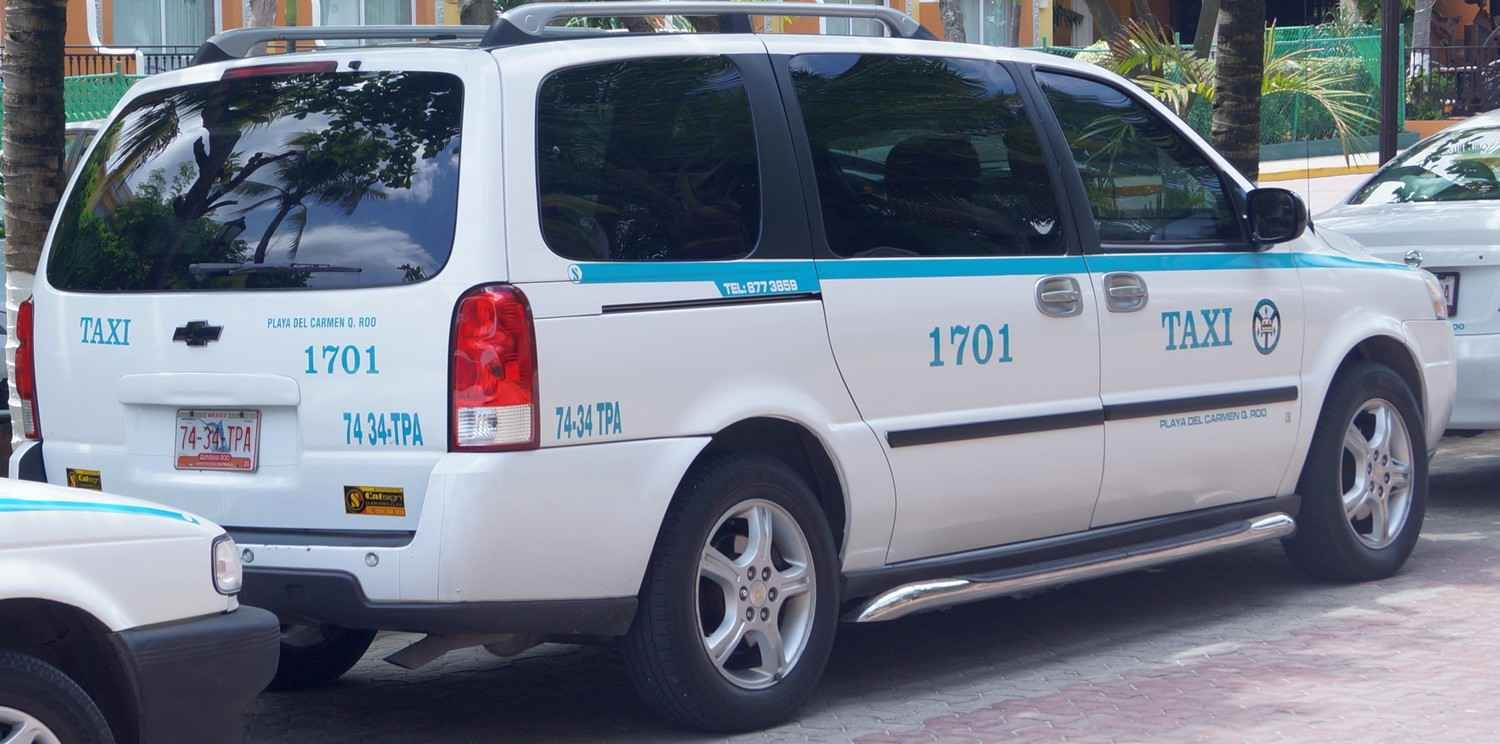 A taxi on the street in Playa Del Carmen.