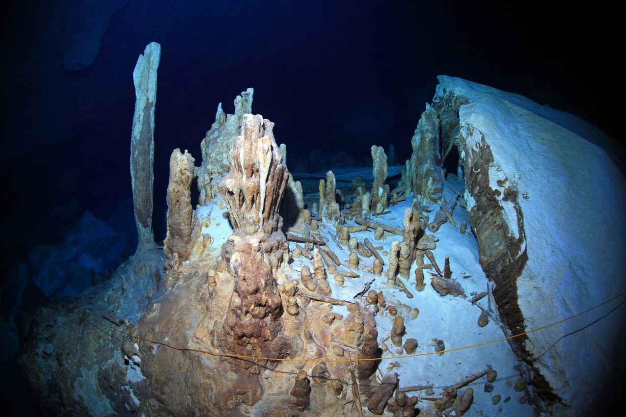 Several ancient Mayan artifacts found inside a cenote near Playa Del Carmen.