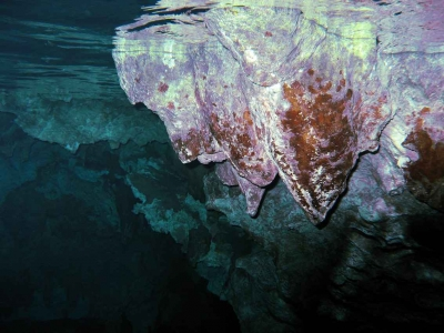 Visible stalactites and stalagmites in a cave near Playa Del Carmen.