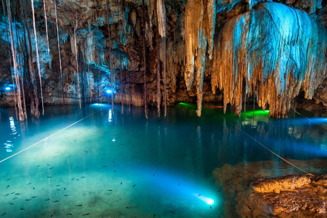 A view of the brightly colored lights and several fish swimming inside a cenote cavern.