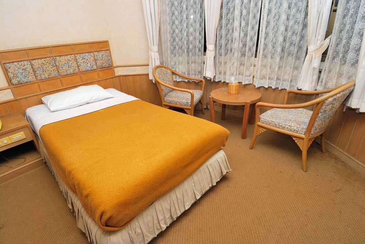 A single room with one double bed.