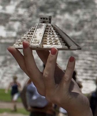 A miniature pyramid souvenir.