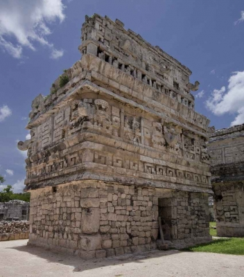 Some partially destroyed Mayan ruins.