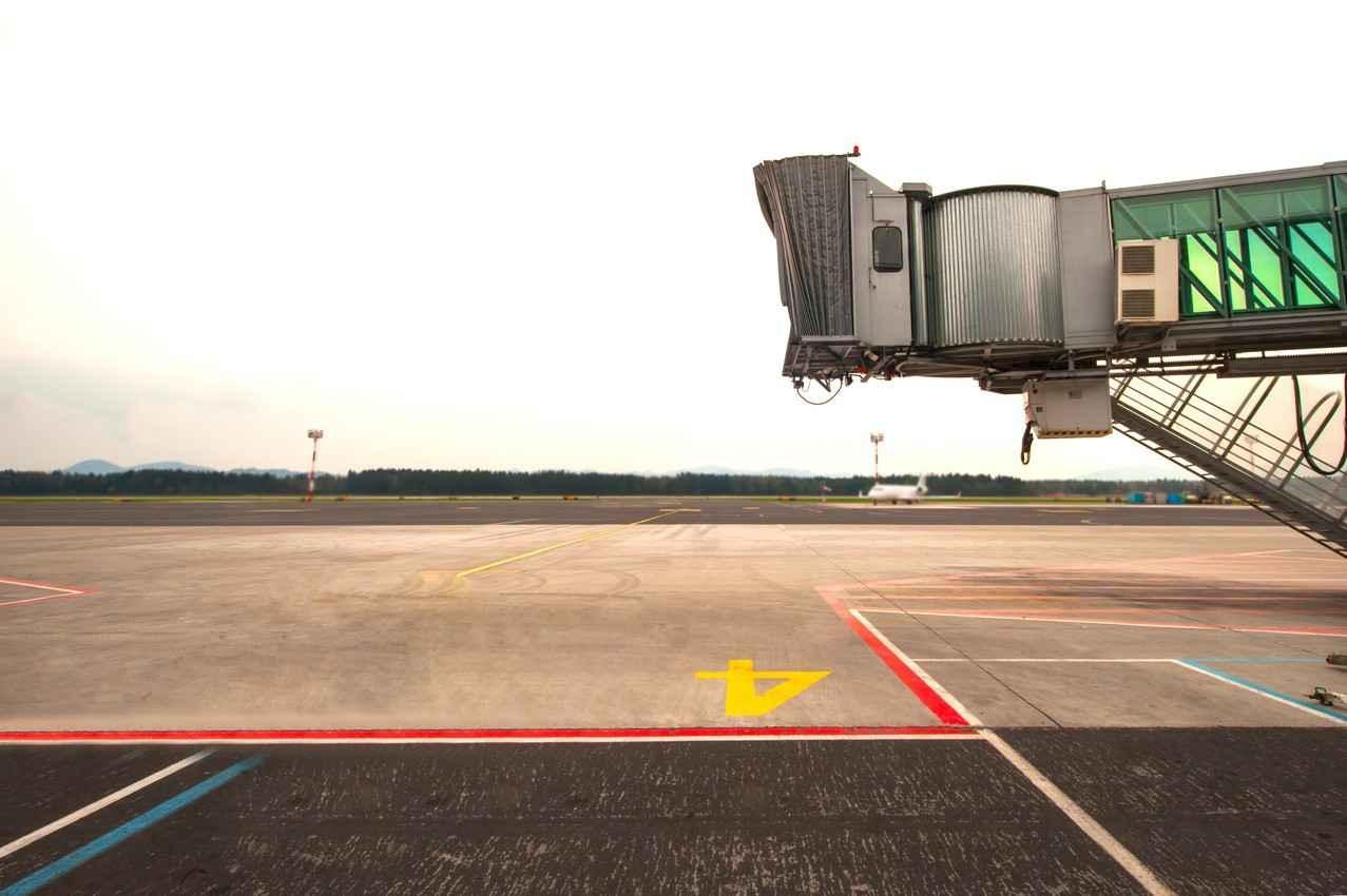 A jet parking spot at the Cancun international Airport.