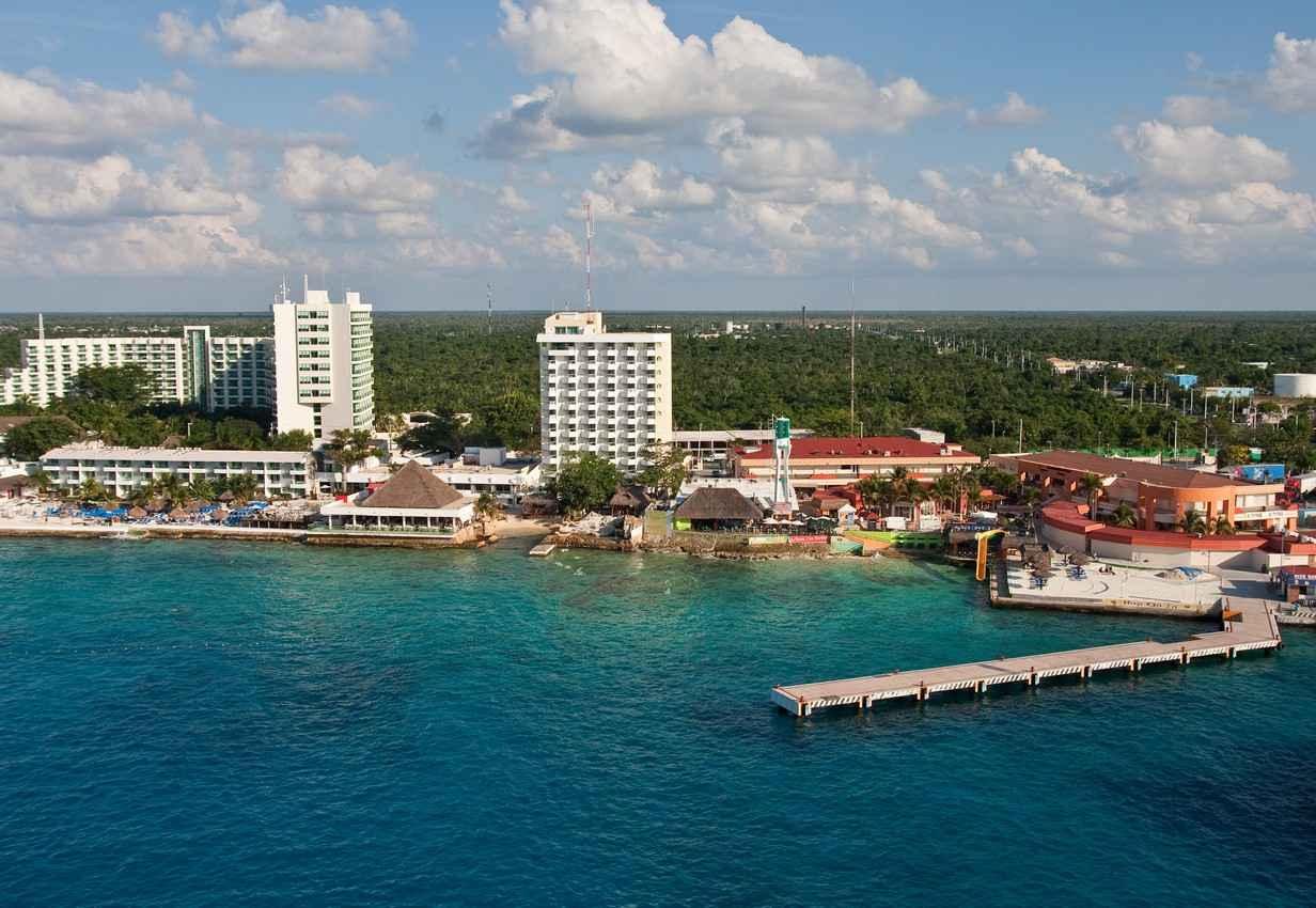 The Cozumel shoreline near a ferry dock.