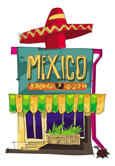 A graphic showing a Mexican restaurant with a sombrero on the roof.