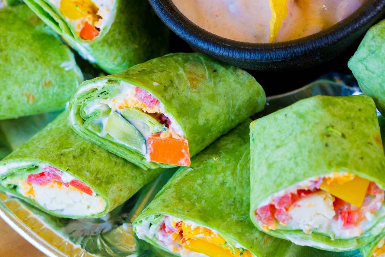 Several healthy breakfast wraps served at a health food restaurant in Playa Del Carmen.