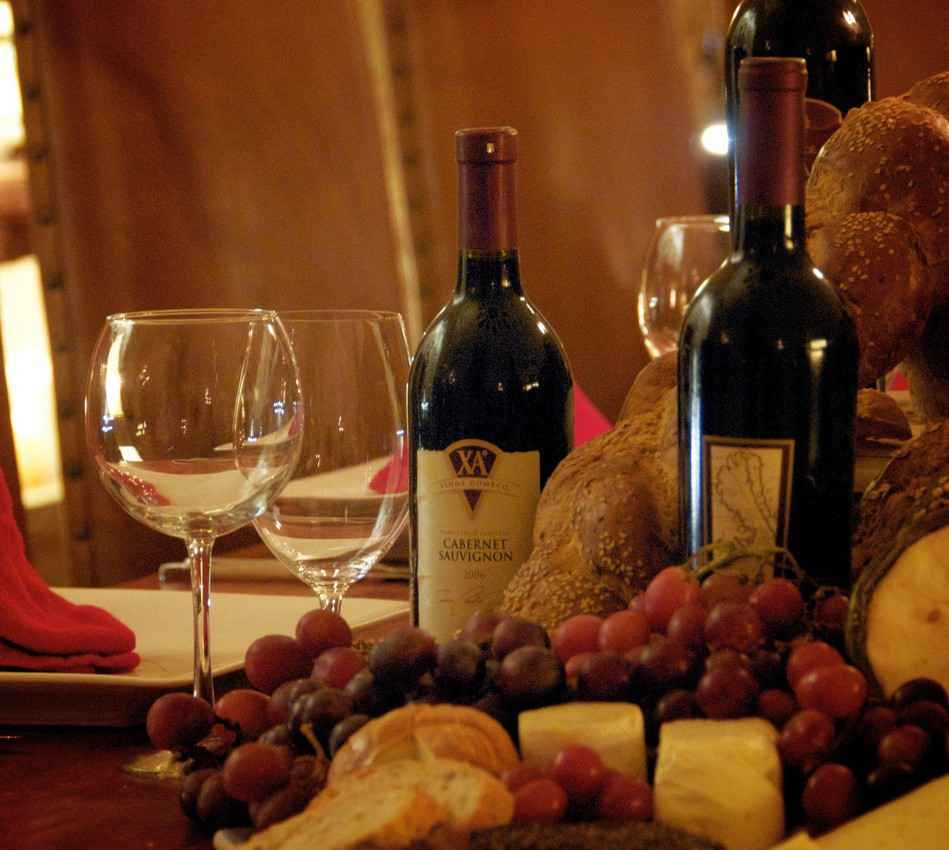Wine served with fruit and cheese available at the Xcaret themepark.
