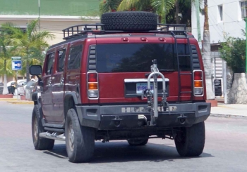 A large Hummer SUV from Nevada seen on 10th Ave.