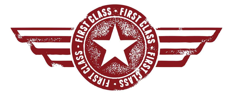 A graphic of a first-class flight logo.