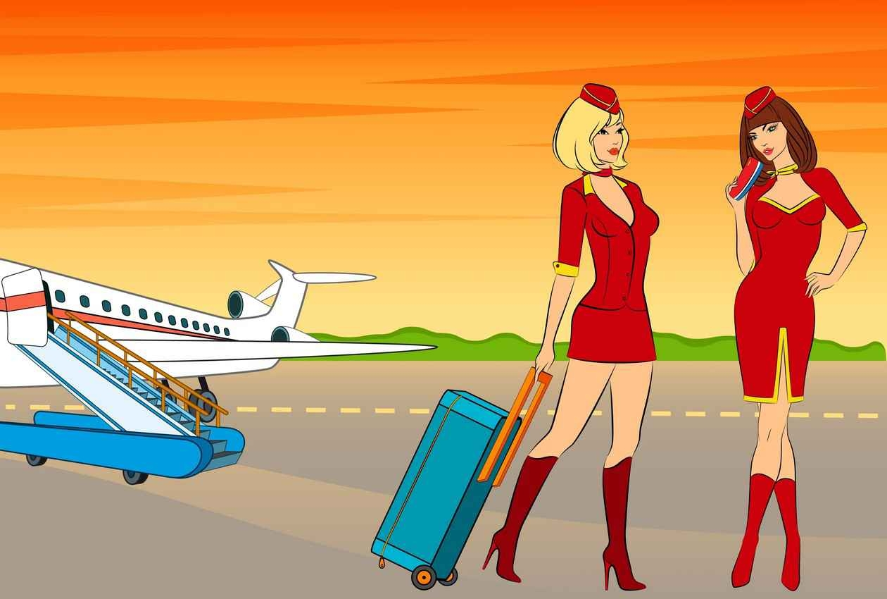 A graphic that shows two sexy stewardesses walking away from a jet near a runway.