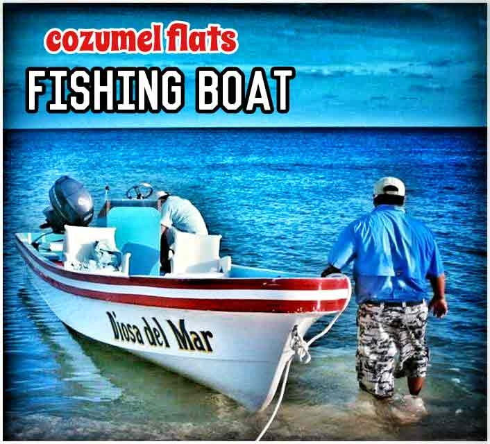 A boat near Cozumel used for fly fishing the flats nearby.