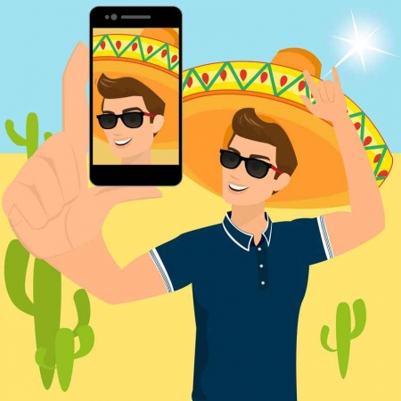 A graphic showing a man with a sombrero taking a selfie with a cell phone.