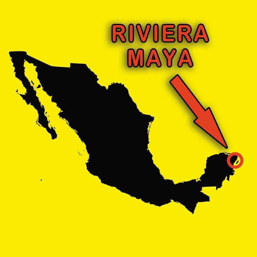 A map showing the location of the Riviera Maya.