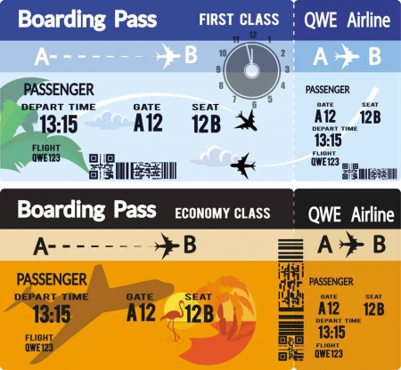 An airline ticket graphic.