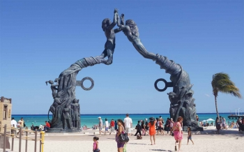 A popular landmark in Playa Del Carmen on the beach.