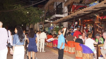 Walking on Fifth Avenue at night in Playa Del Carmen.