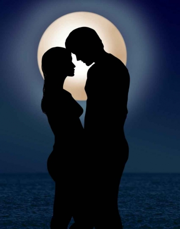 A graphical representation of a couple on a honeymoon with the moon shining brightly over the Caribbean Sea.