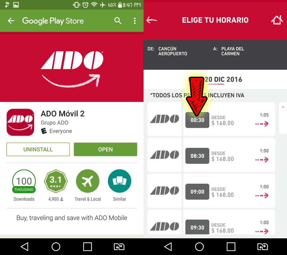 ADO Bus App and schedule