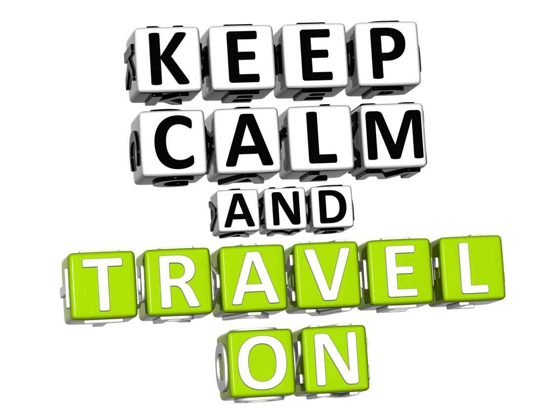 Keep calm and travel on logo.