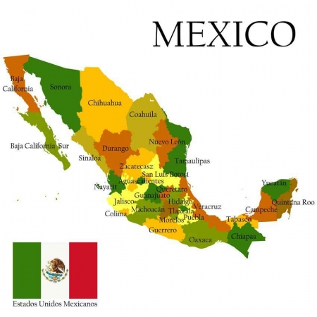 A very basic map of Mexico.