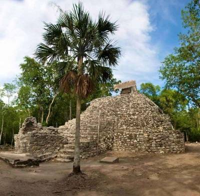 Remnants of a Mayan pyramid found at an archaeological site.