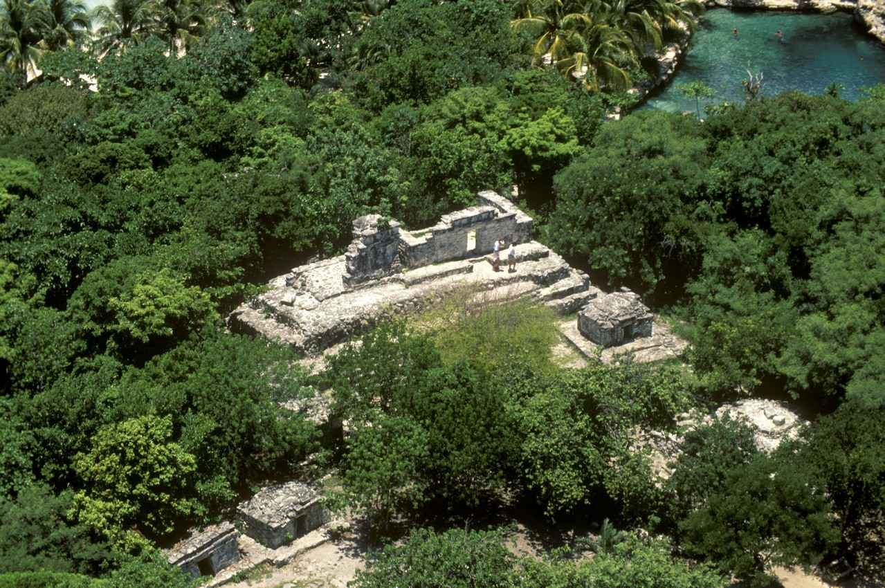 Another aerial view of several Mayan pyramids.