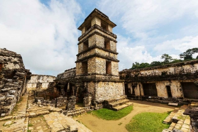 A Mayan archaeological sites enhanced with wooden platforms.