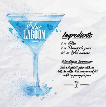 Blue Lagoon drink recipe.