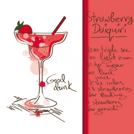 Strawberry daiquiri drink recipe.