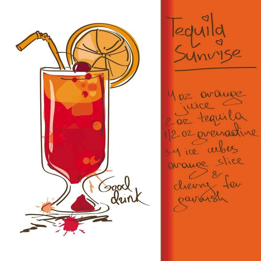 Tequila sunrise drink recipe.