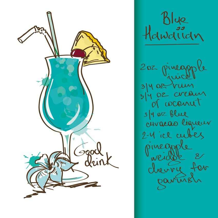 Blue Hawaiian drink recipe.
