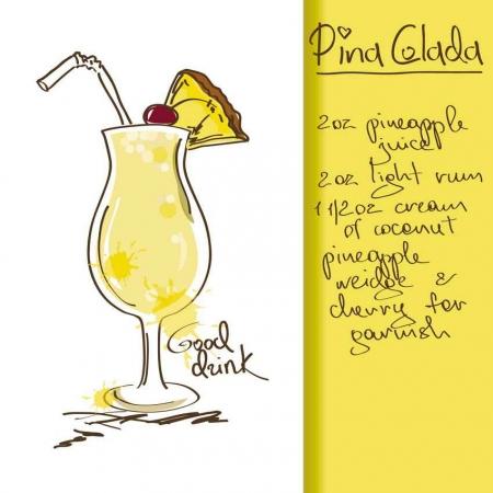 Pina colada drink recipe.