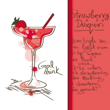 Strawberry daiquiri drink recipe.