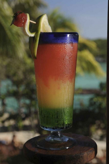 A multicolored Mexican cocktail with palm trees and water in the background.