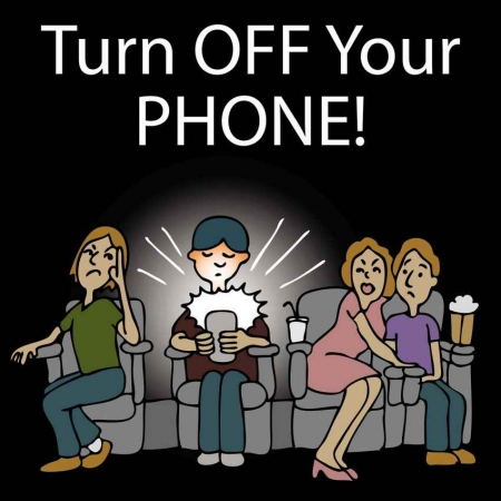 A phone etiquette cartoon telling you to turn off your phone.
