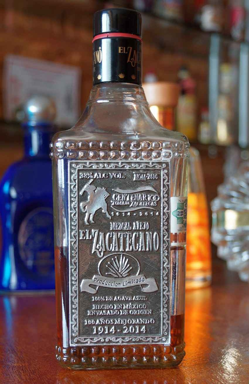 A bottle of El Zacetecano tequila.