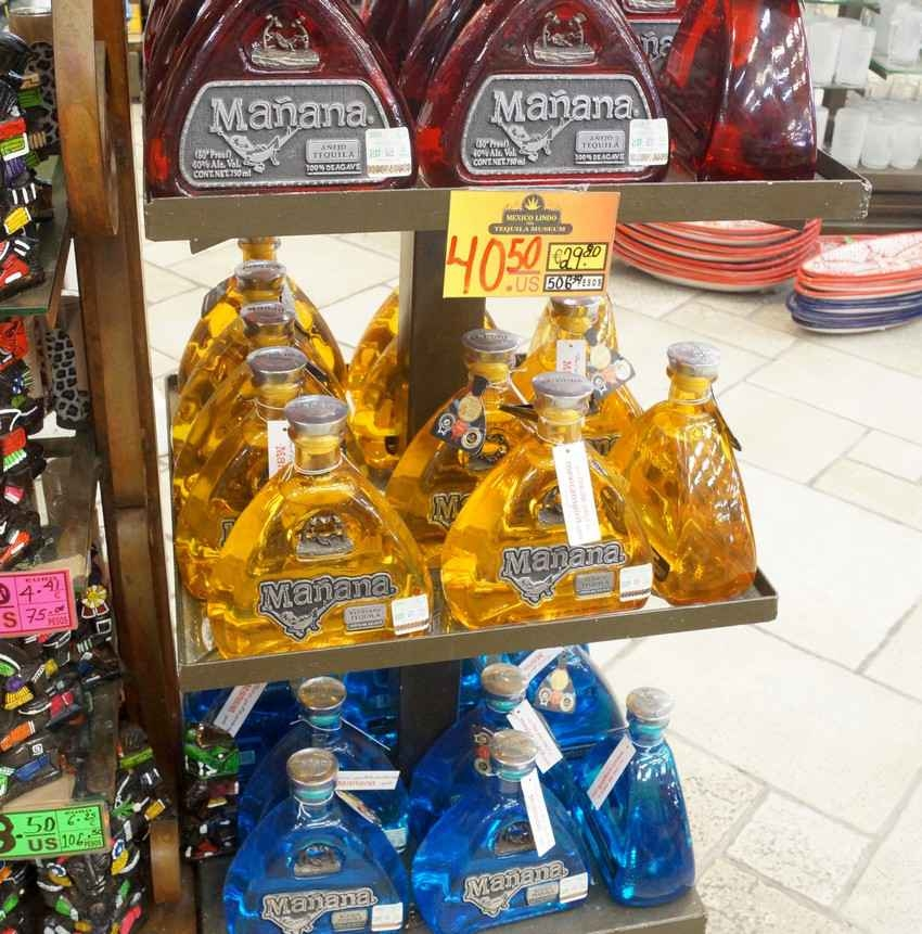 Several bottles of a tequila brand called Manana at a Playa Del Carmen souvenir store.