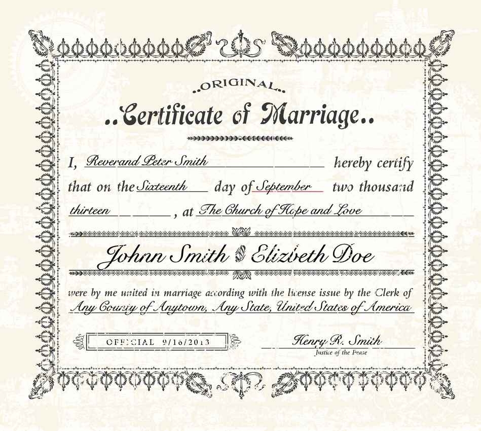 A graphic showing a certificate of marriage.