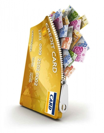 A graphic showing a credit card with Mexican pesos coming out of it.