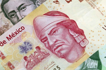 A stack of Mexican pesos.
