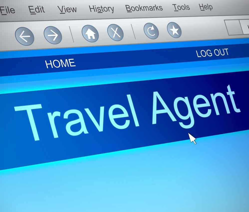 Internet browsing software opened to a travel agent website.