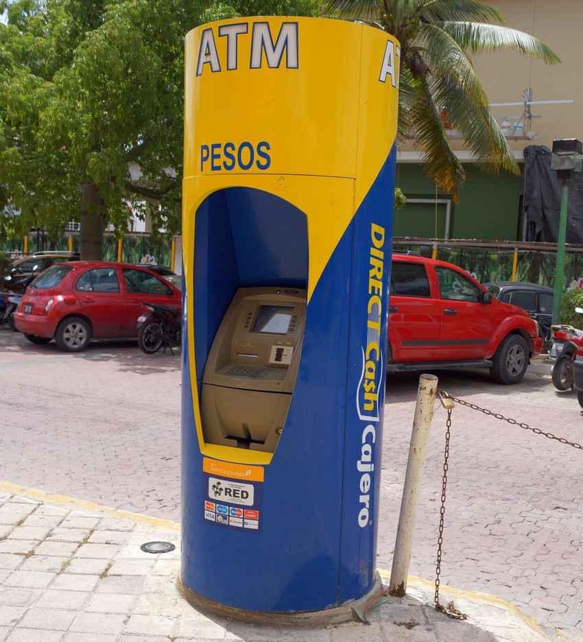 An ATM machine in Playa Del Carmen that dispenses Mexican pesos.